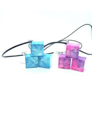 Pink and blue alcohol ink resin pendant and earrings set