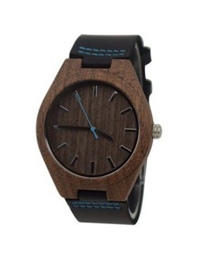 Walnut blue personalised laser engraved watch