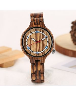 Vintage bamboo women light brown personalised laser engraved watch