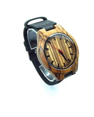 Zebrawood black personalised laser engraved mens watch