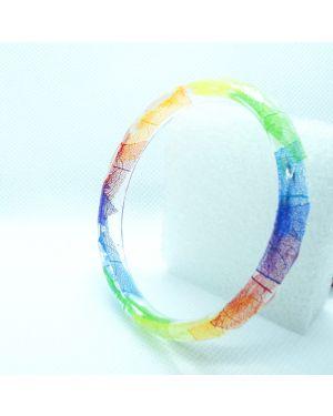 Rainbow leaf skeleton narrow bracelet