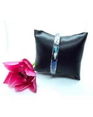 Blue, teal flowers and silver leaf narrow bracelet