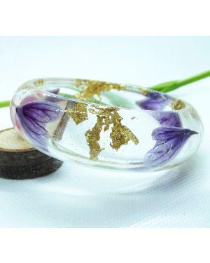 Purple petals and gold leaf bangle