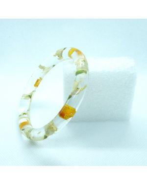 Snowdrop and sunflower petals narrow bracelet