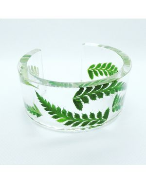 Clear resin bangle with Scottish fern