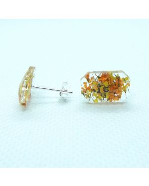 Yellow orange flower baguette stud earrings