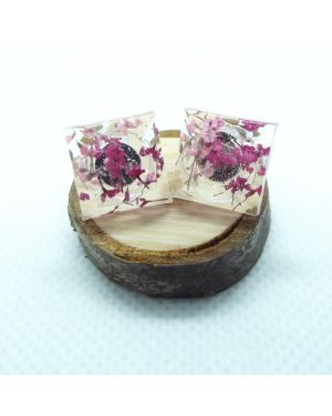 Cyclamen and pink square stud earrings
