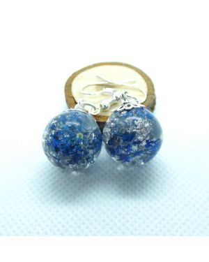 Blue flower and silver leaf orb earrings