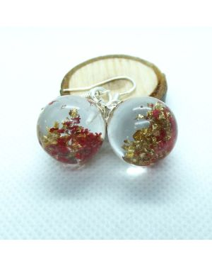 Red flower and gold leaf orb earrings