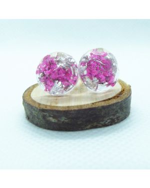 Cyclamen flower and silver leaf bead stud earrings