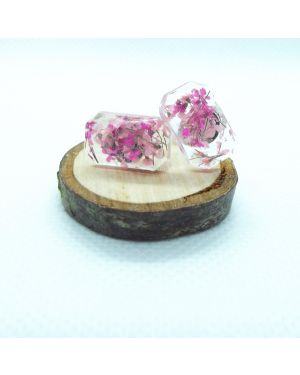 Cyclamen and pink baguette stud earrings