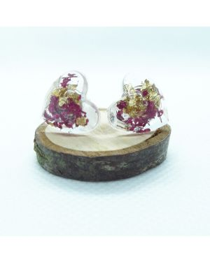 Cyclamen flower and gold leaf heart stud earrings