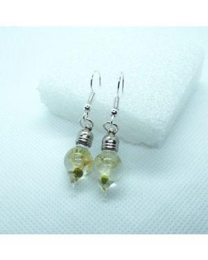 Dried snowdrop dangle earrings