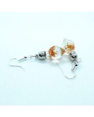 Orange flowers dangle earrings