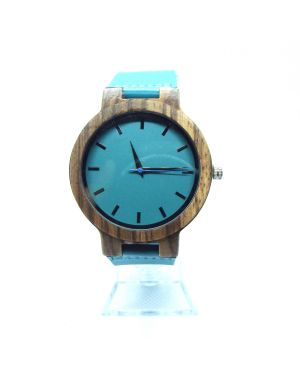 Zebrawood blue personalised laser engraved mens watch