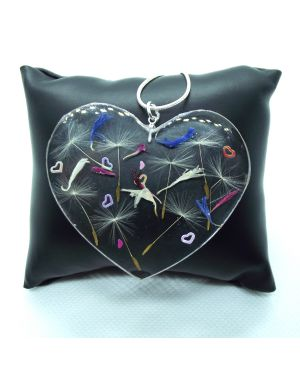Dandelion seeds, cornflower petals, heart glitter pendant with silver necklace
