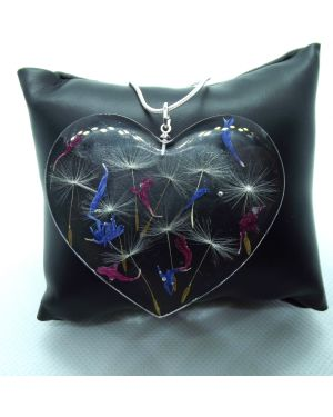 Dandelion seeds, cornflower petals pendant with silver necklace