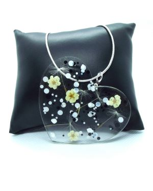 Dandelion seeds, dried flower pendant with silver necklace