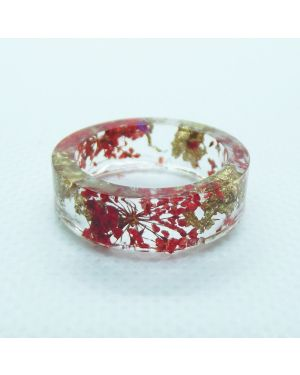 Real red flower and gold leaf resin ring