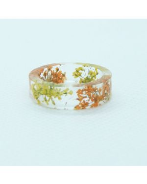 Real yellow and orange flower resin ring