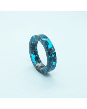 Copper leaf aqua green resin ring