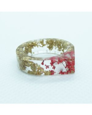 Real red flower and gold leaf resin pointy  ring