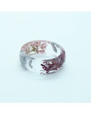 Real pink and cyclamen flower silver leaf oval resin ring