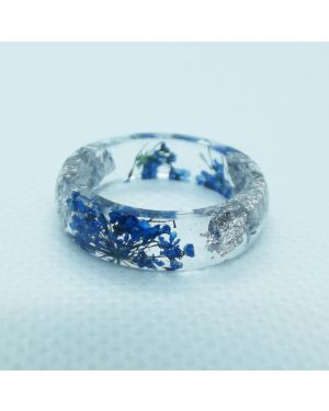 Real blue flower and silver leaf resin ring