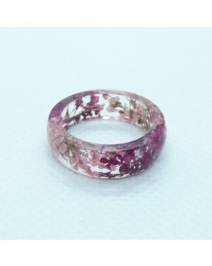 Cyclamen and pink flower resin ring