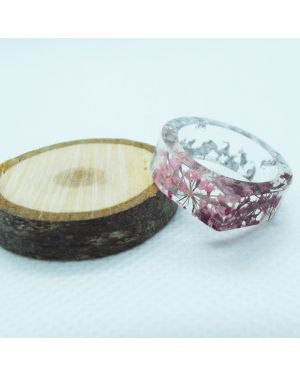 Cyclamen and pink flower silver leaf resin ring