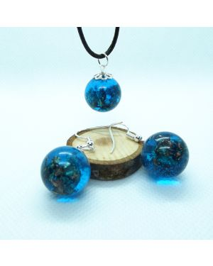Ocean blue and copper leaf orb earrings and pendant set