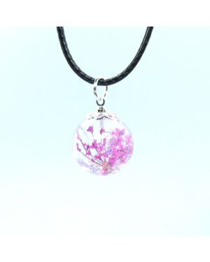 Pink and violet flower orb earrings and pendant set