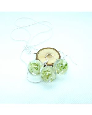Dried snowdrop orb earrings and pendant set with silver necklace