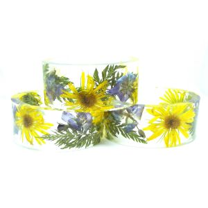 Yellow and purple wildflower bangle