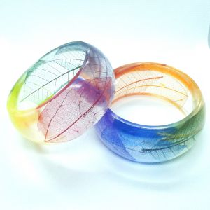 Rainbow leaf skeleton wide bracelet