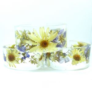 White and purple wildflower bangle