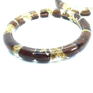 Coffee beans and gold foli narrow bracelet