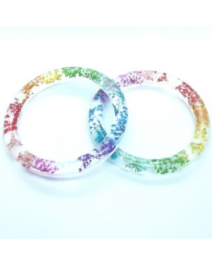 Real rainbow flowers narrow bracelet