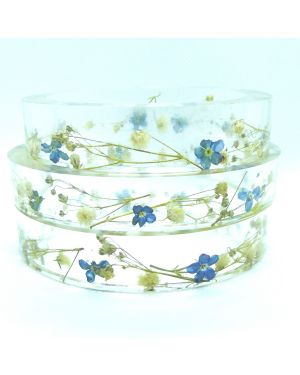 Forget-me-not and gypsophila flat narrow bracelet