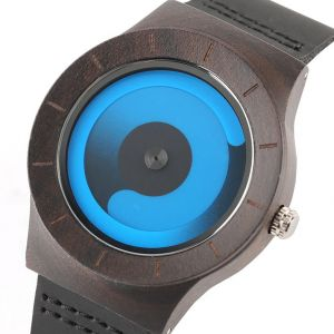 Blue bamboo men personalised laser engraved watch