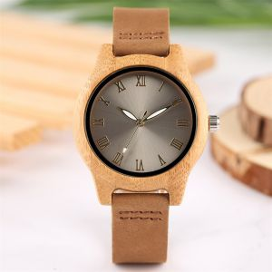 Grey Bamboo women personalised laser engraved watch