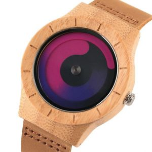 Pink and purple bamboo women personalised laser engraved watch