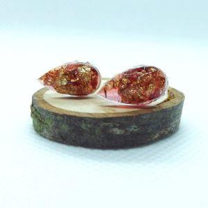 Red resin and gold leaf teardrop stud earrings