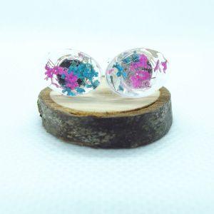 Cyclamen and teal oval stud earrings