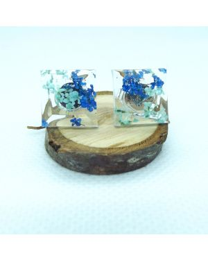 Teal and blue flower square stud earrings