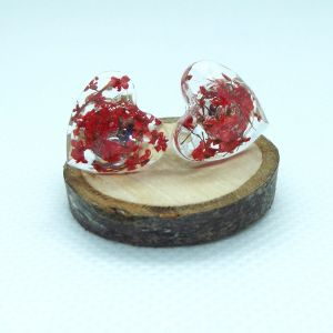 Red flowe heart stud earrings