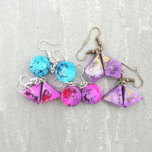Alcohol ink resin earrings