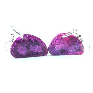 Pink and purple alcohol ink resin earrings