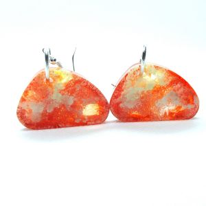 orange and yellow alcohol ink resin earrings