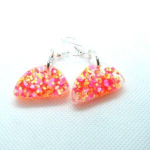 Pink yellow confetti glitter resin earrings